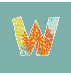 Hand drawn floral letter isolated on blue vector image vector image