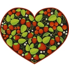 heart with traditional russian pattern Khokhloma vector image