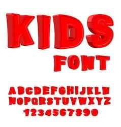 Kids font 3d letters alphabet for children red vector