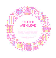 Knitting crochet hand made banner vector