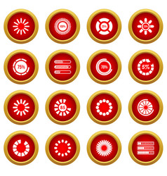 Loading bars and preloaders icon red circle set vector