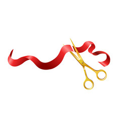 long silk red ribbon and gold shiny scissors vector image