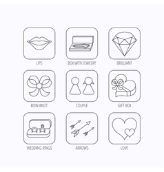 Love heart gift box and wedding rings icons vector image vector image