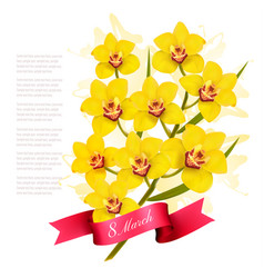march with yellow flowers international vector image