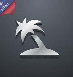 Palm tree travel trip icon symbol 3d style trendy vector