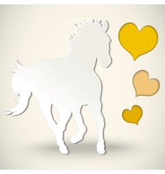 Paper cut greeting card with horse and hearts vector