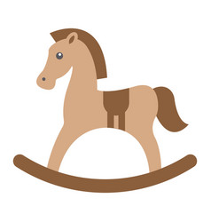 Rocking horse flat icon wooden toy vector