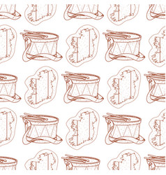 Seamless pattern with a drum and a contour map of vector