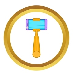 Selfie stick with a smartphone icon vector