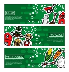 Set of horizontal banners about farm vector