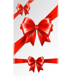 Set of red gift bows concept vector