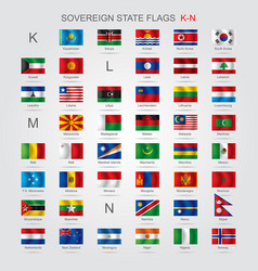 set of sovereign state flags k-n vector image vector image