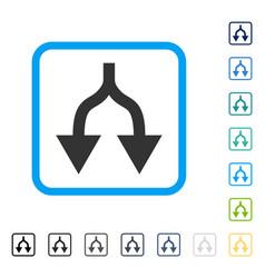 Split arrows down framed icon vector