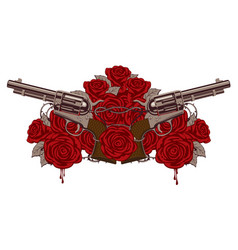Two big old revolvers red roses and barbed wire vector
