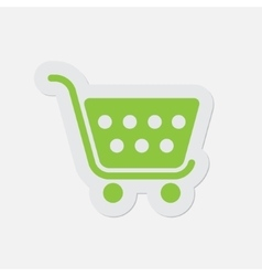 Simple green icon - shopping cart vector