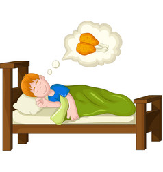 Boy cartoon sleeping and dream fried chicken vector