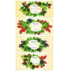 Garden berries fruits banners vector