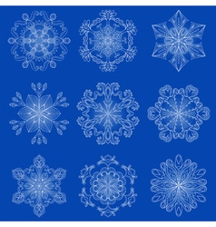 Vintage snowflake set in zentangle style original vector