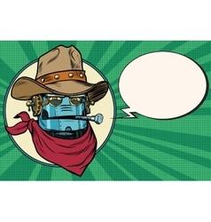 Robot cowboy west wild world vector