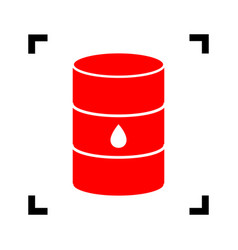 oil barrel sign  red icon inside black vector image