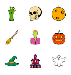 pumpkin head icons set cartoon style vector image