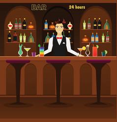 Bar pub interior flat with vector