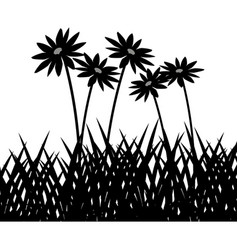 Wild herbs and flowers vegetation silhouette vector