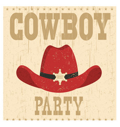 cowboy party card with western hat vector image