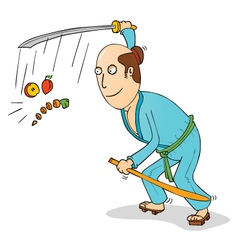 Cartoon samurai chopping fruits vector