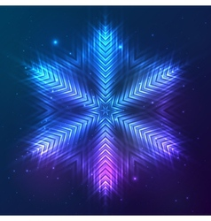 Cosmic shining abstract snowflake vector