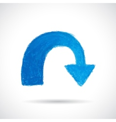 Blue curved arrow vector