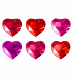 diamond jewelry hearts vector image
