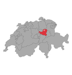 Map of switzerland with flag of schwyz vector