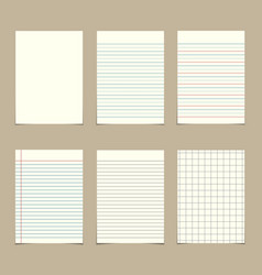 Set of vintage line paper sheets vector