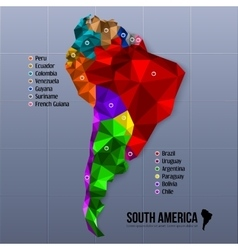 Map south america showing states in polygonal vector