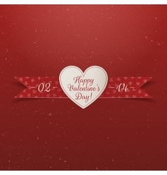 Valentines day paper heart label with ribbon vector