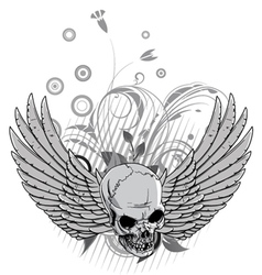 floral with skull and wings vector image