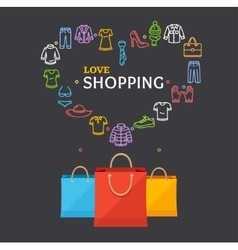 Shopping clothing season concept vector