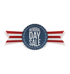 Memorial day sale patriotic badge and ribbon vector
