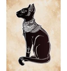 A black egyptian cat vector