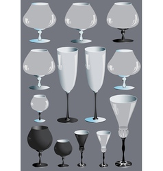 Collection of glass goblets vector