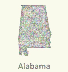 Alabama line art map vector image vector image