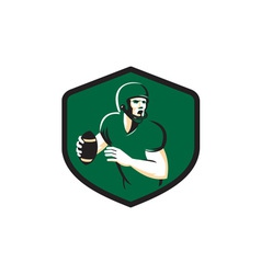 American football quarterback qb shield retro vector
