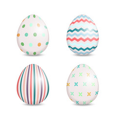 Beautiful set of easter eggs with cute patterns vector