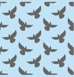 black dove seamless pattern pigeons flying vector image