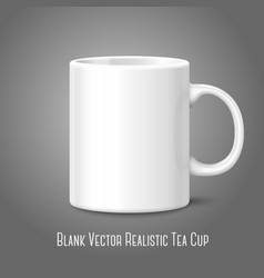 Blank white photo realistic isolated on gray cup vector image