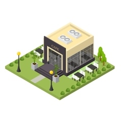 Cafe building isometric view vector