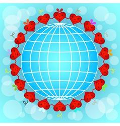 Cartoon red hearts circle around globe vector image