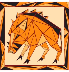 Chinese horoscope stylized stained glass pig vector image