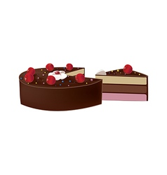 Delicious chocolate cake with cherries vector